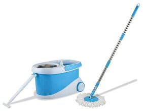 Bathla Ultra Clean 360° Plus (Blue) - Hi-Tech Spin Mop with Telescopic Handle and Precision Moulded Bucket + 2 Microfiber Mop Heads & + Built-in Solution Dispenser