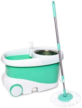 Bathla Ultra Clean 360° Plus - Hi-Tech Spin Mop with Telescopic Handle and Precision Moulded Bucket + 2 Microfiber Mop Heads & + Built-in Solution Dispenser (Green)