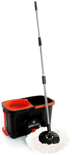 Bathla Ultra Clean 360 - Premium Microfiber Spin Mop with Trolley Wheels (Black)