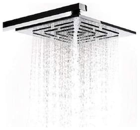Bathly Stainless Steel Square Overhead Shower Maze 4X4 inch with 12 inch Shower Arm And Flange (Chrome Finish)