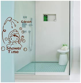 Bathroom Wall Sticker (shower time,Surface Covering Area Size - 30 x 25 cm)
