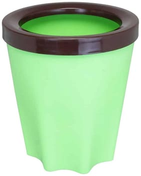 Bauzooka Plastic  Round Garden Pot With Ring For Home Decor - Green ( Pack of  1 )