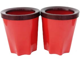 Bauzooka Plastic  Round Garden Pot With Ring For Home Decor - Red ( Pack of  2 )