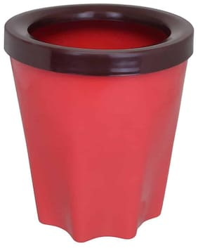Bauzooka Plastic Red Round Garden Pot With Ring For Home Decor