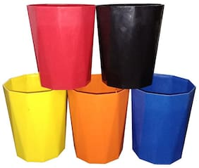 Bauzooka Plastic  Garden Pot Diamond Shape For Home Decor - Multi colour ( Pack of 5 )