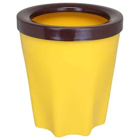 Bauzooka Plastic Yellow Round Garden Pot With Ring For Home Decor