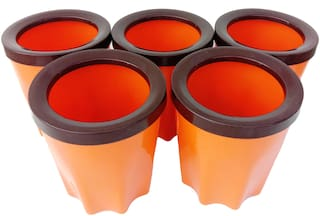 Bauzooka Plastic  Round Garden Pot With Ring For Home Decor - Orange ( Pack of  5 )