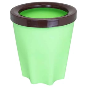 Bauzooka Plastic Green Round Garden Pot With Ring For Home Decor