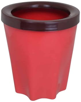 Bauzooka Plastic  Round Garden Pot With Ring For Home Decor - Red ( Pack of  1 )