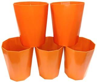 Bauzooka Plastic  Garden Pot Diamond Shape For Home Decor - Orange ( Pack of 5 )