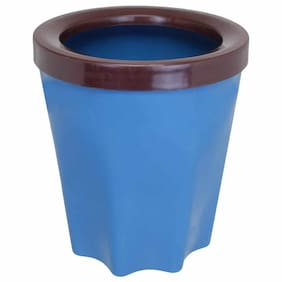 Bauzooka Plastic Blue Round Garden Pot With Ring For Home Decor