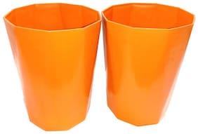 Bauzooka Plastic  Garden Pot Diamond Shape For Home Decor - Orange ( Pack of 2 )