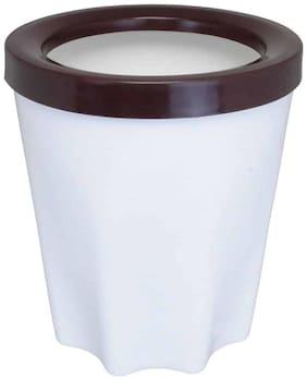 Bauzooka Plastic  Round Garden Pot With Ring For Home Decor - White ( Pack of  1 )