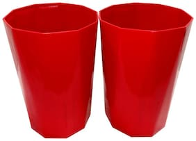 Bauzooka Plastic  Garden Pot Diamond Shape For Home Decor - Red ( Pack of 2 )