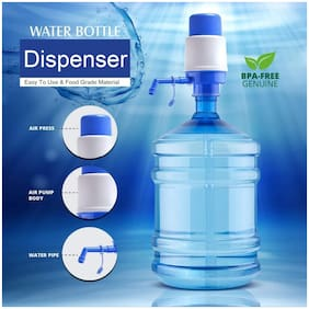 Bazaar Gali Portable Hand Press Manual Water Dispenser Pump for Mineral Water Bottles & 20-25L Jerry Cans (Set of 1) Assorted Color