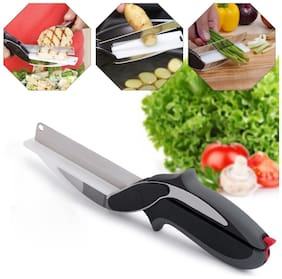 Bazaar Gali Fruit & Vegetable Clever Cutter Knife with Built in Cutting Board Stainless Steel Blade (Pack of 1) Black