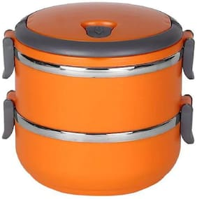 BAZAAR GALI 2 Container Stainless Steel Lunch Box Set of 1 ( Assorted ,  1400 ml )