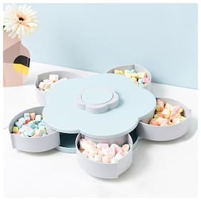 Bazaar Gali New Design Creative  5 Compartments Flower Candy Box Serving Rotating Tray Dry Fruit - Smart Candy Box With 5 Spoon (Assorted Color) Pack of 1