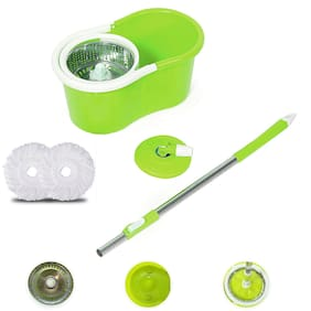 Bazaar Gali 360° Spin Stainless Steel Mop Bucket and Rotating Pole with 2 Micro Fiber Refills (Set of 1;Assorted Color)