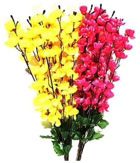 Beautiful Attractive flower Bunch With Green Leaves Of Fabric Decorative & Giftable Multicolor Artificial Flower