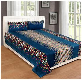 Beautiful Rooms 3D Printed Poly Cotton 140 TC Double Bed Sheet with 2 Pillow Covers