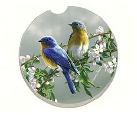 BEAUTIFUL SONGBIRDS BLUEBIRDS 1 Absorbent Auto Car Stone Coaster for Cup Holders