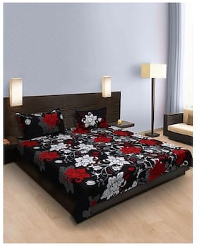 BeautifulRooms 3D Printed Poly Cotton 140 TC Double Bed Sheet with 2 Pillow Covers