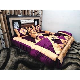 Peponi Velvet Purple Wedding Bedding Set 8 pcs (Quilt, Double Bed Sheet, 2 Pillow Covers, 2 Filled Cushions, 2 Filled Bolster Covers)