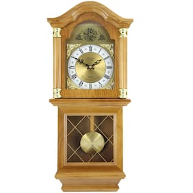 Bedford Clock Collection Classic Chiming Wall Clock with Swinging Pendulum, Oak