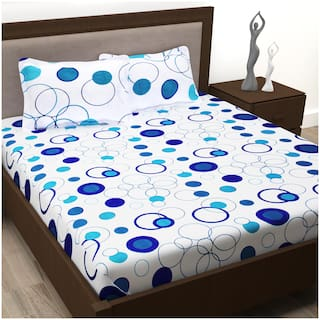 Story@Home Cotton Polka Dot Double Size Bedsheet ( 1 Bedsheet With 2 Pillow Covers , White )