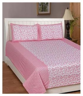 Laying Style Cotton Printed Double Size Bedsheet ( 1 Bedsheet With 2 Pillow Covers , Pink )