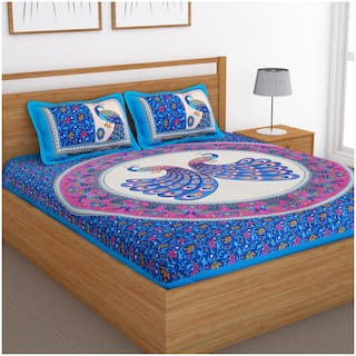 Bedspun Cotton Printed Double Size Bedsheet 120 TC ( 1 Bedsheet With 2 Pillow Covers , Blue )