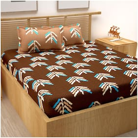 Bedspun Cotton Abstract Double Size Bedsheet 120 TC ( 1 Bedsheet With 2 Pillow Covers , Brown )