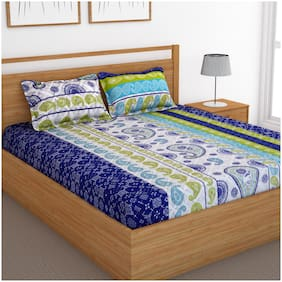 Bedspun Cotton Abstract Double Size Bedsheet 120 TC ( 1 Bedsheet With 2 Pillow Covers , Blue )