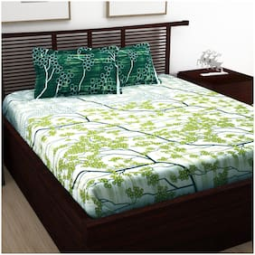 Bedspun Cotton Abstract Double Size Bedsheet 120 TC ( 1 Bedsheet With 2 Pillow Covers , Green )