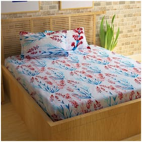 Bedspun Cotton Printed Double Size Bedsheet ( 1 Bedsheet With 2 Pillow Covers , White )