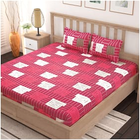 Bedspun Cotton Abstract Double Size Bedsheet 120 TC ( 1 Bedsheet With 2 Pillow Covers , Pink )
