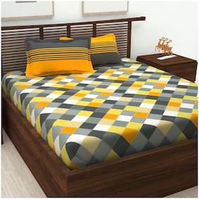 Bedspun Cotton Geometric Double Size Bedsheet 120 TC ( 1 Bedsheet With 2 Pillow Covers , Yellow )