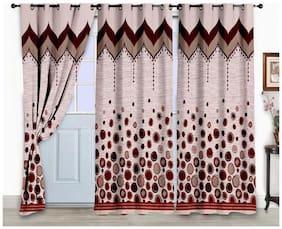 Bedspun Jacquard Door Semi Transparent Maroon Regular Curtain ( Eyelet Closure , Polka Dots )