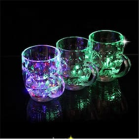 Beer Party Multi-Color Led Light Plastic Mug (300 ml;Pack of 1) (Assorted Color)