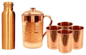 Beezy 100% Pure Copper Jug With 4 Glass And 1 Bottle