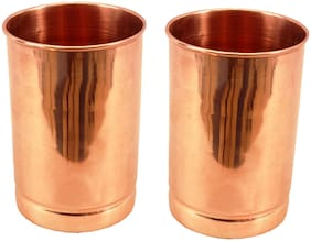 Beezy 100% Pure Premium Quality Small Plain Copper Glass 2 Pcs. 250 ML