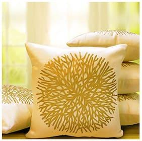 Belive-Me Printed Velvet Beige Cushion Cover ( Regular , Pack of 5 )