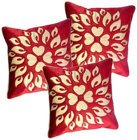 Belive-Me Velvet Maroon Cushion Cover Set Of 3