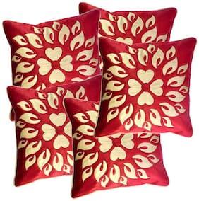 Belive-Me Velvet Maroon Cushion Cover Set Of 5