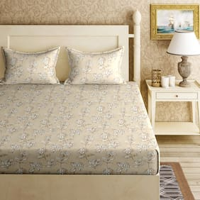 Bella Casa Cotton Printed King Size Bedsheet 144 TC ( 1 Bedsheet With 2 Pillow Covers , Off-white )