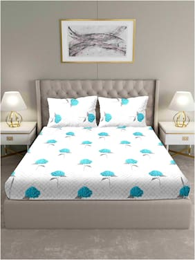Bella Casa Cotton Floral King Size Bedsheet 180 TC ( 1 Bedsheet With 2 Pillow Covers , Blue )
