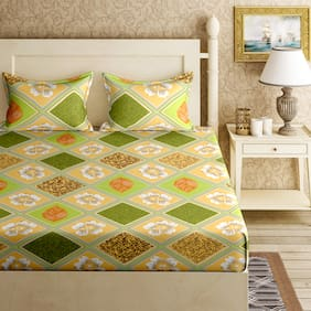 Bella Casa Cotton Printed King Size Bedsheet 144 TC ( 1 Bedsheet With 2 Pillow Covers , Green )