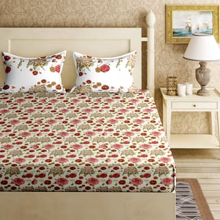 Bella Casa Cotton Printed King Size Bedsheet 144 TC ( 1 Bedsheet With 2 Pillow Covers , Multi )