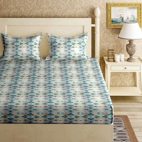Bella Casa Cotton Printed King Size Bedsheet 120 TC ( 1 Bedsheet With 2 Pillow Covers , Multi )
